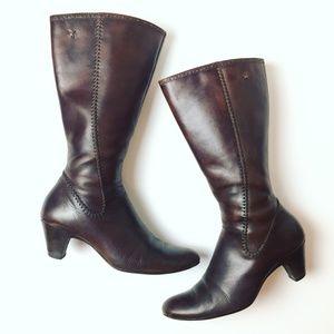 PIKOLINOS Brown Leather Zip Up Knee Boots w/ Heel